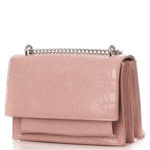 "Handbags - ""Emily"" Pink Croc Embossed Handbag"